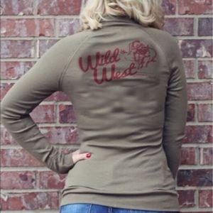 Wild West Zip Up Track Jacket Raw Hem Jr Sizing